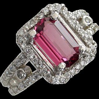 SALE Purplish Red Spinel & Diamond Platinum Ring - Designer Signed