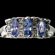SAVE 50%! Lavender Tanzanite Diamond Ring in 14k White Gold