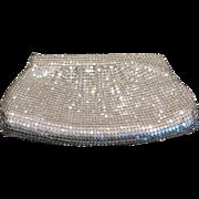 Vintage silver aluminum mesh clutch purse