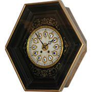 """Antique French, """"Marti & cie"""" Boulle Inlaid Picture Frame  Wall Clock"""