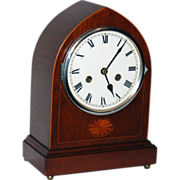 c.1930 English Mahogany & Inlay 8 day Time & Chime Bracket Clock