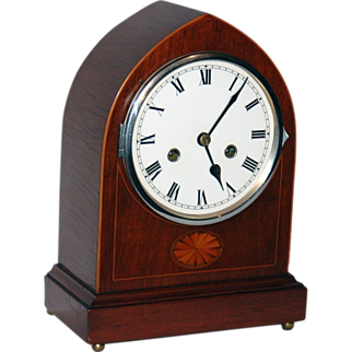 REDUCED c.1930 English Mahogany & Inlay 8 day Time & Chime Bracket Clock
