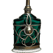 Emerald Green Glass Oil or Perfume Bottle with Cased Metal