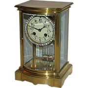 Antique French Brass and Glass Crystal Regulator Clock