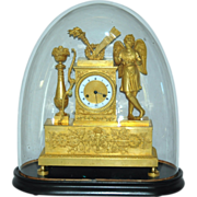 Antique French Figural Mantel Clock with Glass Dome