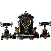 Antique French Black Marble 3 Piece Clock Garniture Set