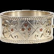 Antique Victorian Sterling Silver Bangle Bracelet with Rose Gold Floral Motif and Bold Frame