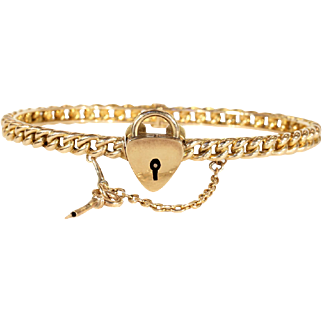 SALE Antique Love Knot Bangle with Working Key and Lock, 15k Gold, Dated 1892