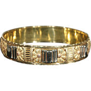 Superb Art Deco Bangle Bracelet, French 3 Tone 18k Gold
