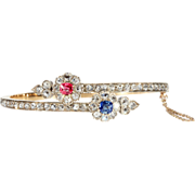 Antique Ruby Diamond and Sapphire Flower Bangle, 18k Gold, c. 1890, *Video*