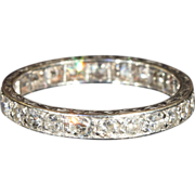 Vintage Art Deco Diamond Eternity Band in Platinum, Sz 7.75
