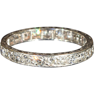 SALE Vintage Art Deco Diamond Eternity Band in Platinum, Sz 7.75