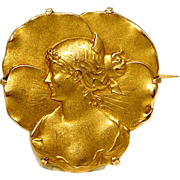 Antique French Art Nouveau 18k Gold Signed Brooch Pin
