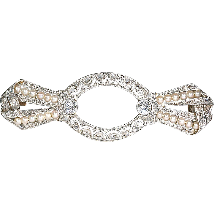Alluring Antique Edwardian 18k Gold and Platinum Diamond and Pearl Bow Brooch Pin - Clearance Sale!!