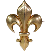 Antique Fleur-de-lis Brooch Pin, 18k Gold