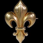 Antique Fleur-de-lis Brooch Pin, 18k Gold