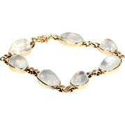 Vintage Art Deco Moonstone Bracelet in 14k Gold
