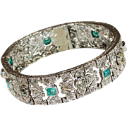 Glittering Art Deco Diamond and Emerald Bracelet in Platinum, c. 1920, *Video*