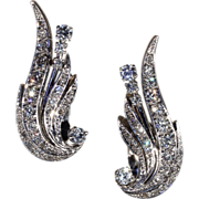 Vintage Diamond Retro Wing Earrings in 14k Gold, Clips c. 1950