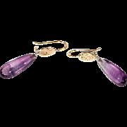 Vintage Amethyst Drop Earrings, 14k Gold and Platinum
