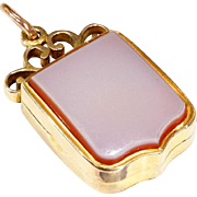 Antique Victorian Sardonyx Locket, Shield Shaped in 15k Gold