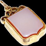 Antique Victorian Sardonyx Locket, Shield Shaped in 15k Gold