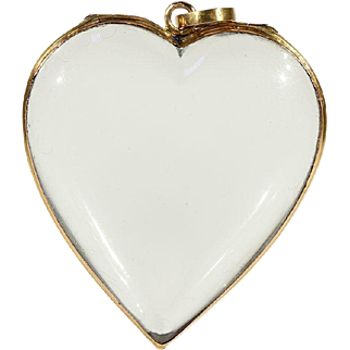 SALE Antique Victorian Heart Shaped Cut Rock Crystal Frame Locket Pendant in 15k Gold
