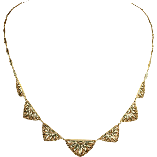 Vintage Art Deco Sunflower Necklace in 18k Yellow Gold