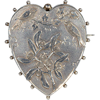 SALE Antique Victorian Heart and Singing Birds Brooch Pin, Hallmarked 1891