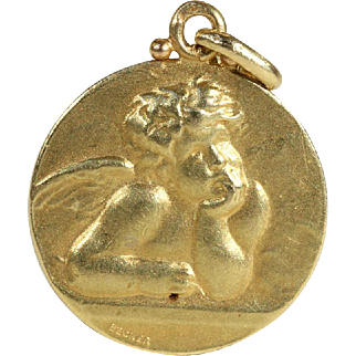 SALE Vintage Art Nouveau Angel Pendant in 18k Gold by Edmond Henri Becker