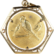 Vintage 18k Gold Birds Pendant, European c.1950
