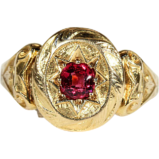 SALE Antique Victorian Ruby Solitaire Engagement Ring in 18k Gold