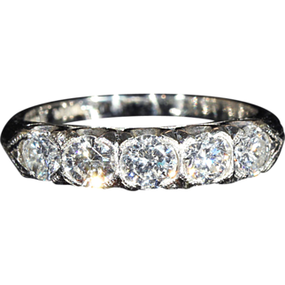 SALE Fantastic Vintage 5 Stone Diamond Ring in Platinum, 1ctw, c.1950, *VIDEO*