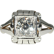 Vintage 1.55ct Diamond Engagement Ring Solitaire, Retro Platinum and 18k Gold