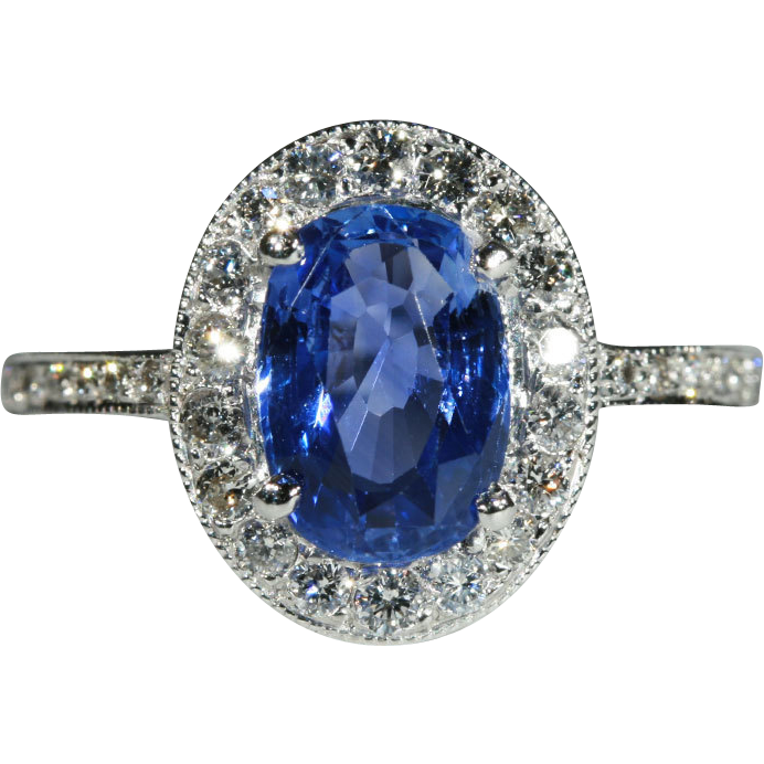Vintage  Sapphire and Diamond Ring, 1.25ct set in 18k White Gold