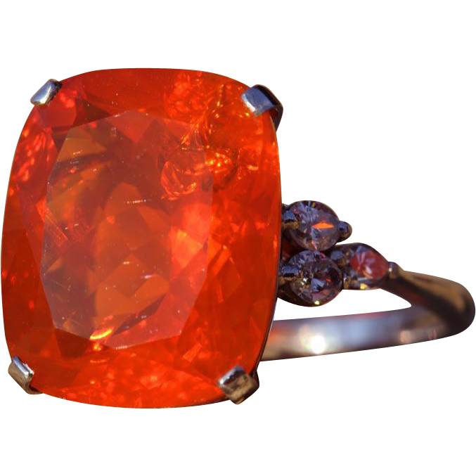 Mid-Century Huge Fire Opal and Diamond Ring in Platinum, *Video*