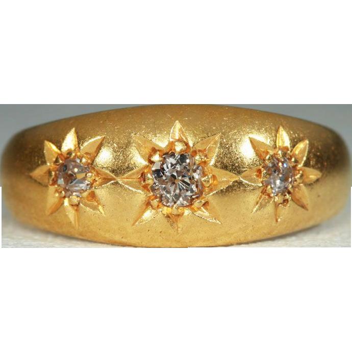 Antique Edwardian 3 Stone Diamond Gypsy Engagement Ring or Wedding Band