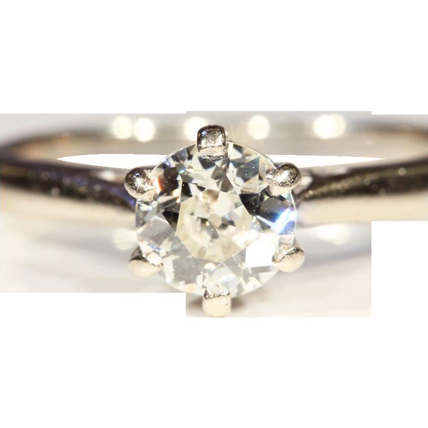 Classic Antique .75ct Diamond Solitaire Ring in 18k & Platinum, *Video*