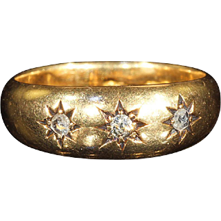 Antique 3 Stone Diamond Stacking Ring in 18k Gold, Hallmarked