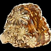 Vintage Designer 75ct+ Citrine and Gold Cocktail Ring, c. 1960 in 18k Gold