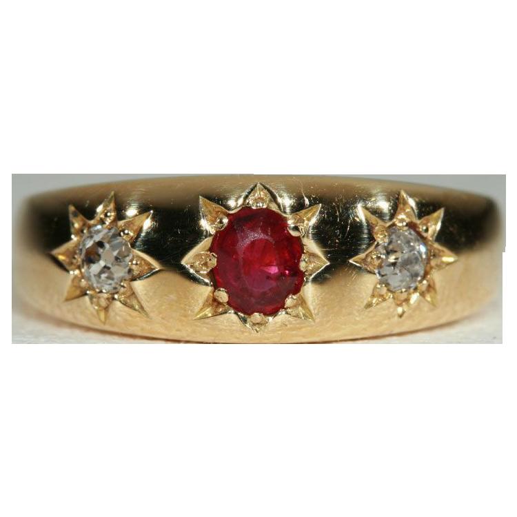 Antique Edwardian 3 Stone Ruby and Diamond Gypsy Ring, 18k Gold 1904