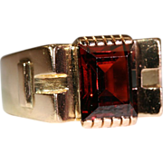 Clearance Sale!! - Vintage 1950's Retro Garnet & 18k Gold Cocktail Ring