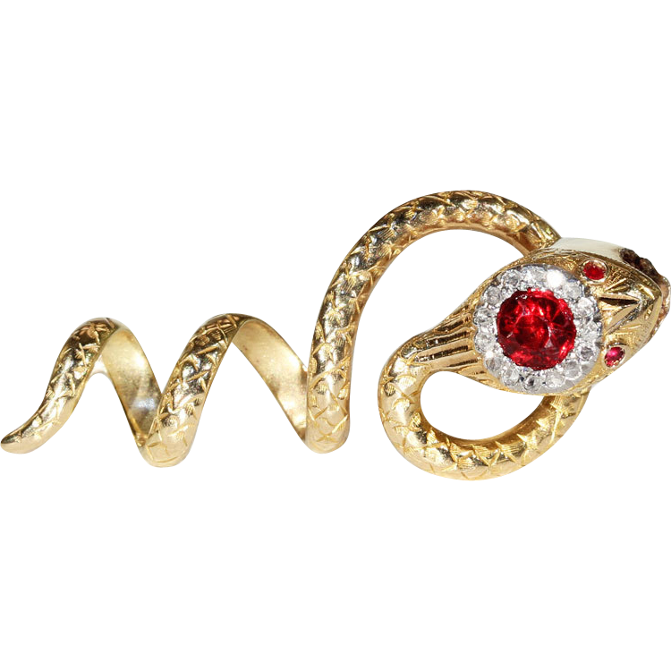 Antique Ruby and Diamond Set 18k Gold Snake Shaped Slide