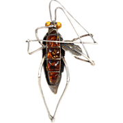 Fabulous Silver and Amber Cricket Playing the Fiddle Brooch Pin