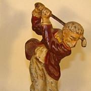 Antique Cast Iron Doorstop - Golfer