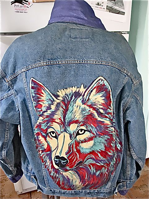 Vintage Levi S Denim Hand Painted Jacket Wolf 1980 Quot S