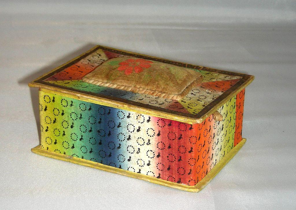 19th C. Wallpaper Trinket Box w/ Velvet Pincushion Theorem