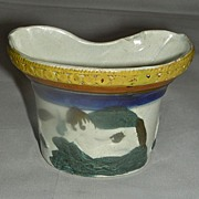Rare Prattware Ceramic Bird Feeder, c. 1800