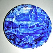 Dark Blue Historical Staffordshire Cup Plate ~ Stone Bridge by Enoch Wood w/ Border