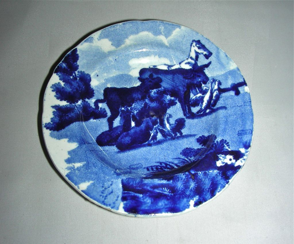 Dark Blue Historical Staffordshire Cup Plate from the Dr. Syntax Series by Clews